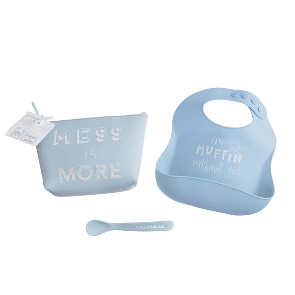 Blue Silicone Feeding Set