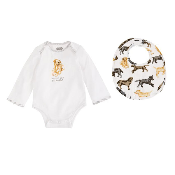 Yellow Lab Crawler & Bib 0-6m