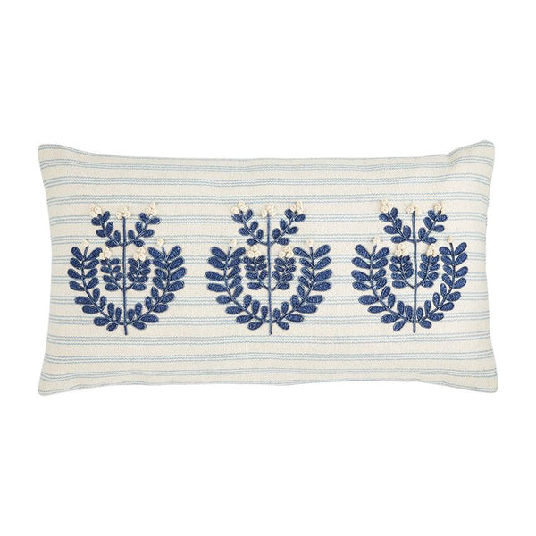 Lumbar Applique Blue Pillow