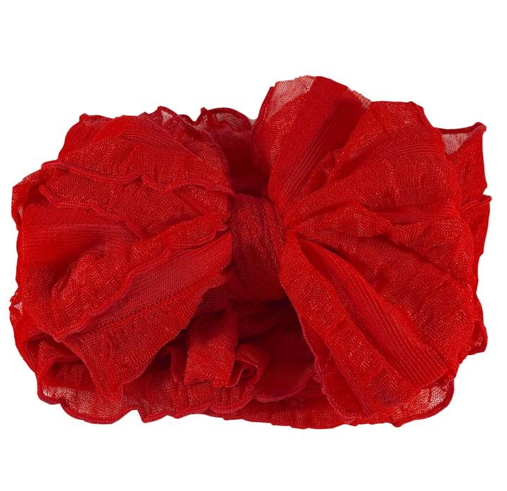 Ruffled Headband - Bright Red