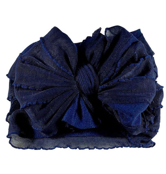 Ruffled Headband - Navy