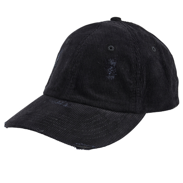Distressed cord ball cap