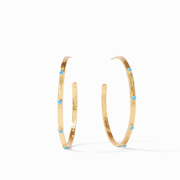 Crescent Stone Hoop Pacific Blue