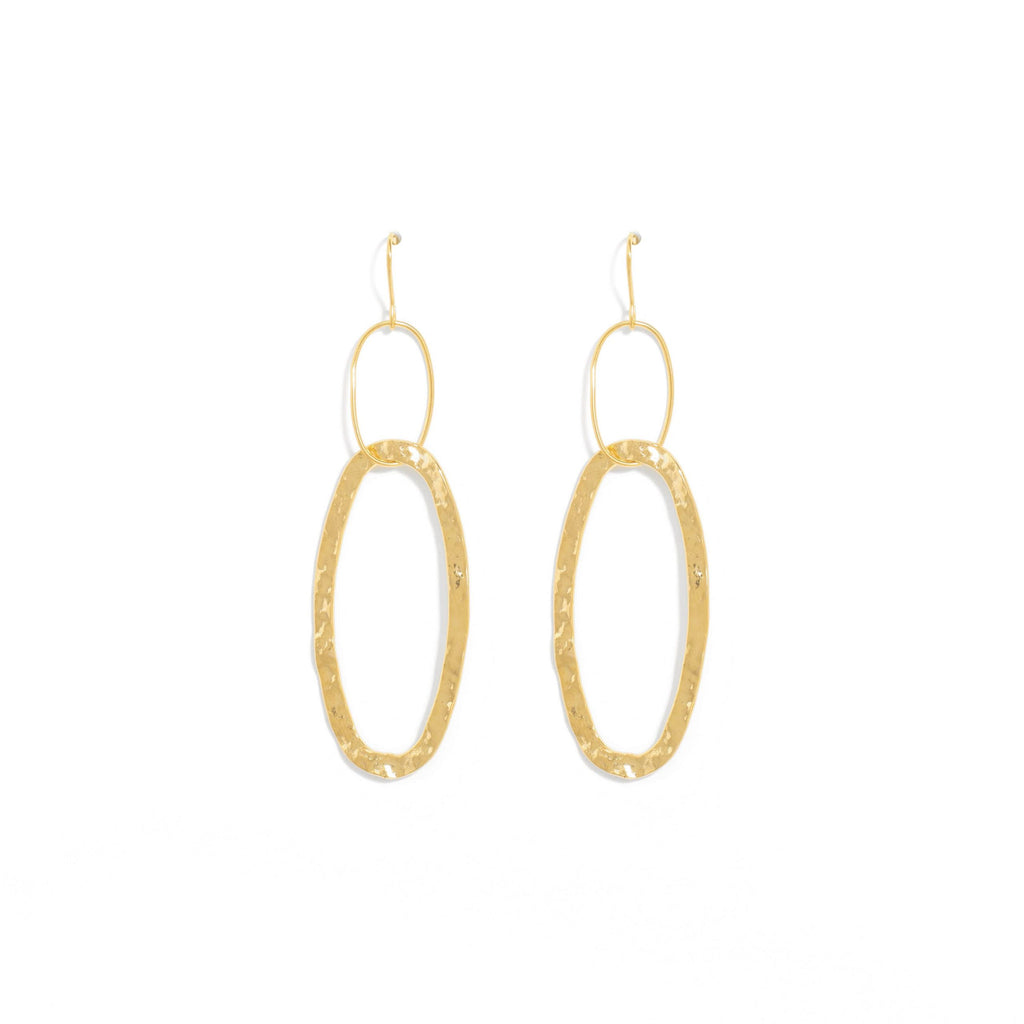 Double textured open ovals gold earring