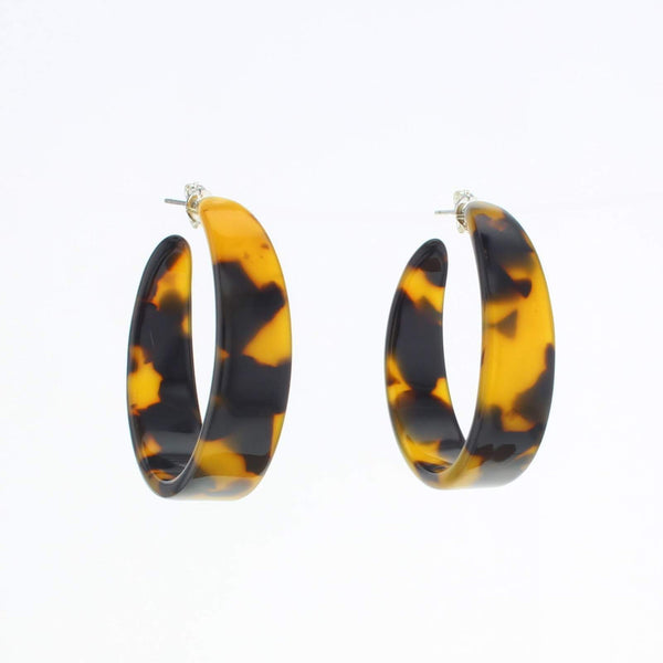 Terrapin Hoop Earrings brown tortoise