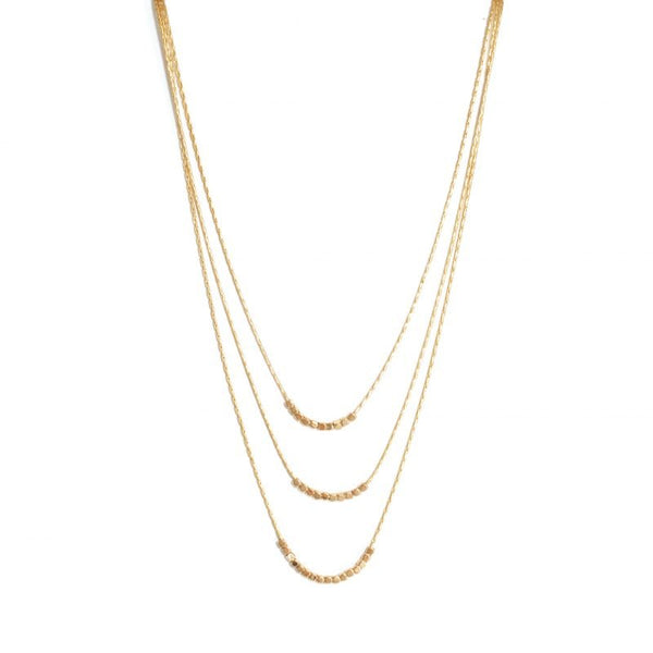 Triple layer necklace with delicate beads gold
