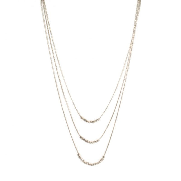 Triple layer necklace with delicate beads silver