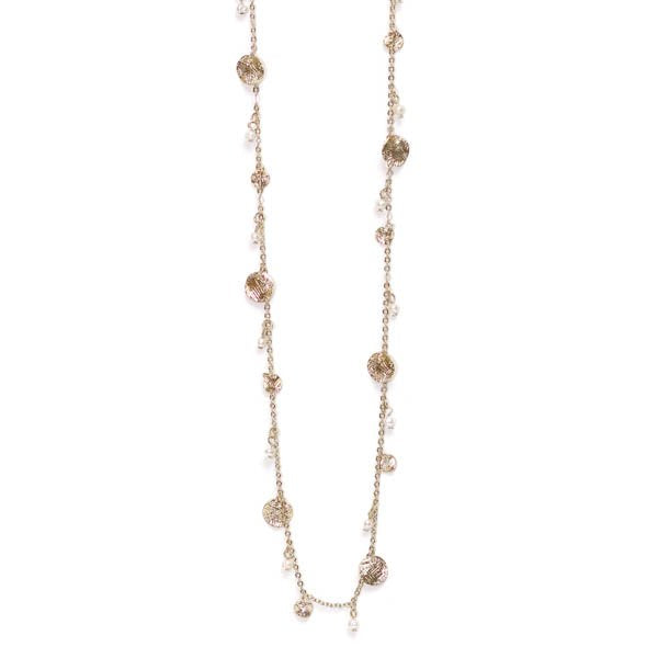 Textured Disc & Pearl Long Necklace