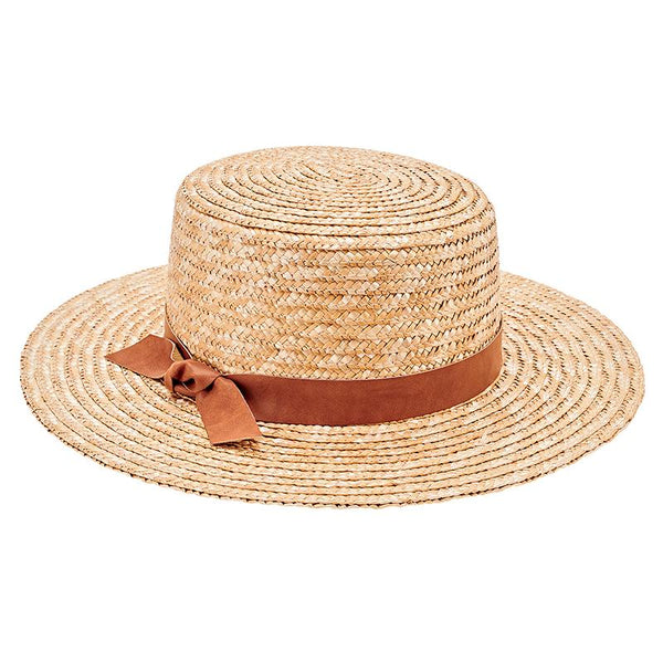Wheat Straw Hat with Faux Leather Band-Natural