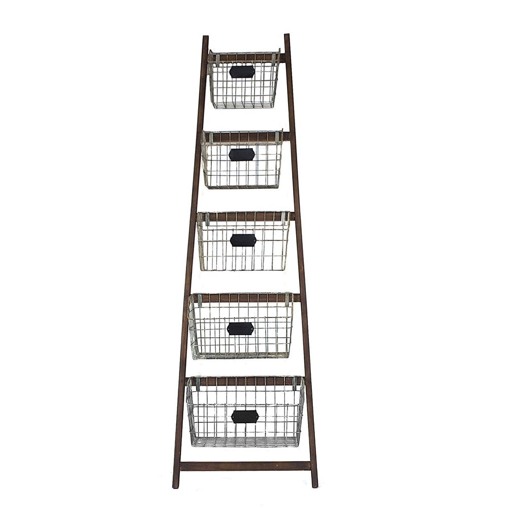 Wood ladder w/metal baskets