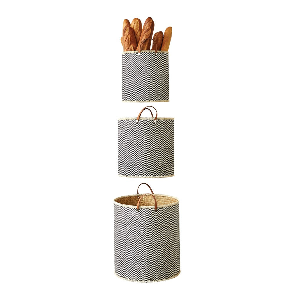 Round Palm Leaf Laundry Basket w/ Leather Handles,