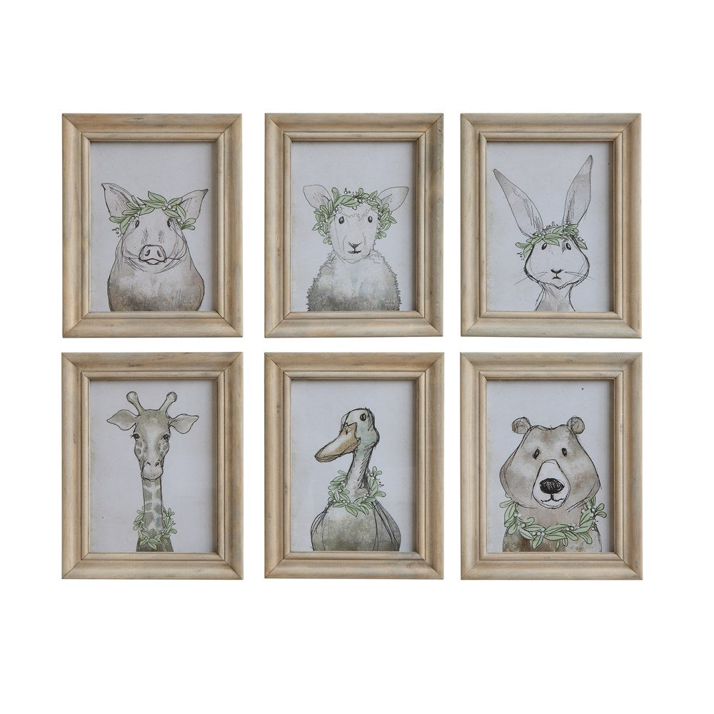 Wood Frame Wall Decor w/ Animal, 6 Styles