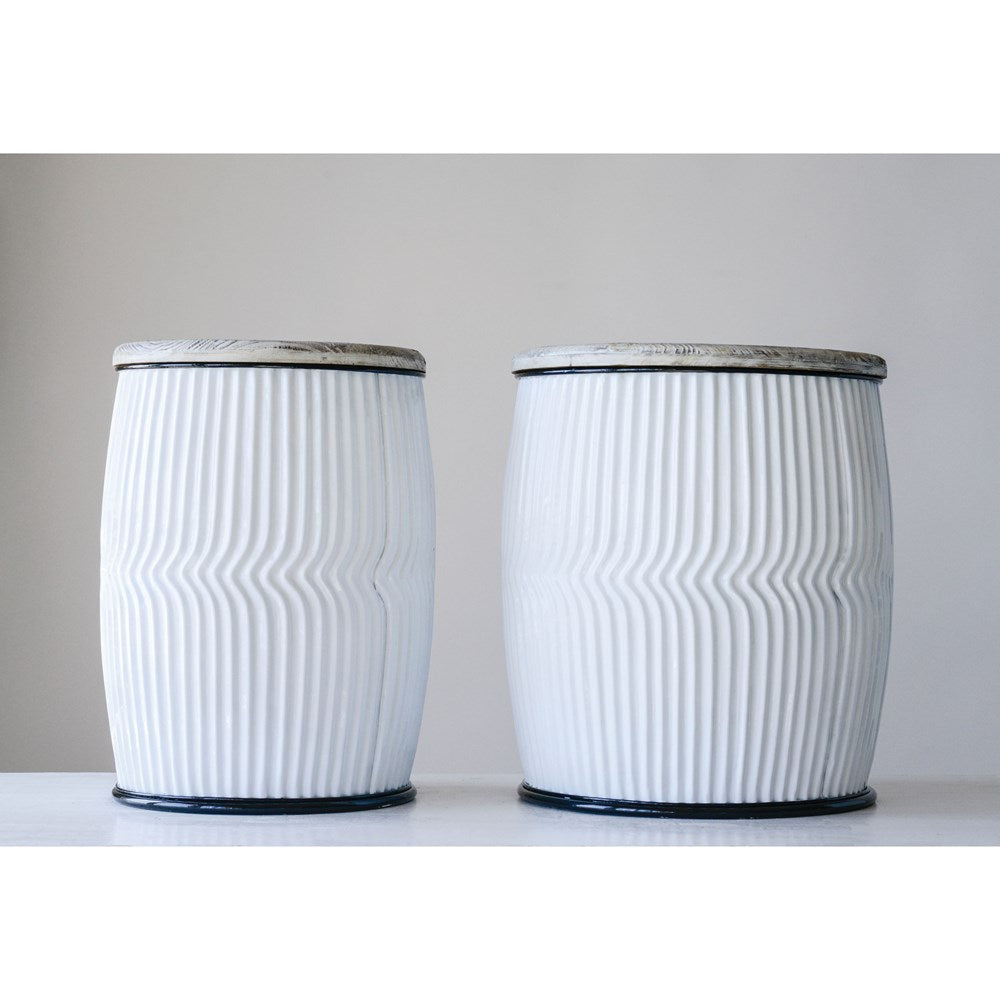 Round Wood & Metal Side Tables, Black & White,