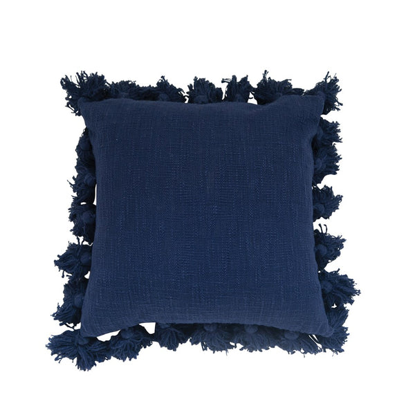 Square Cotton Pillow w/ Tassels, Navy