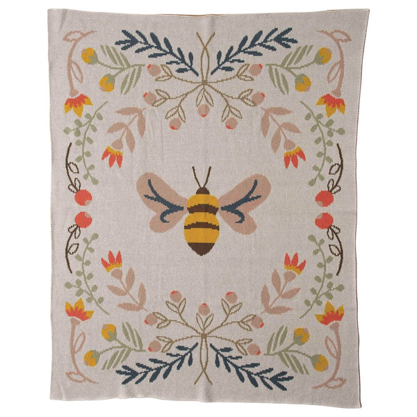 Cotton Knit Baby Blanket w/ Bee, Multi Color