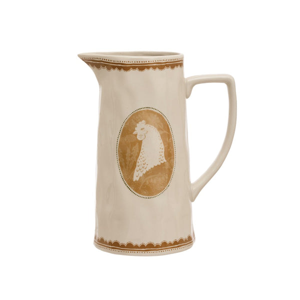 Stoneware Pitcher with Rooster, Marigold Color