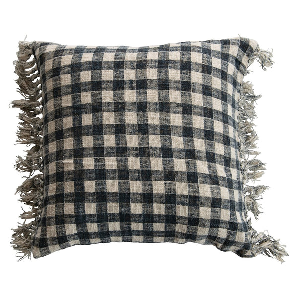Pillow with Fringe, Blue & Cream Color Gingham