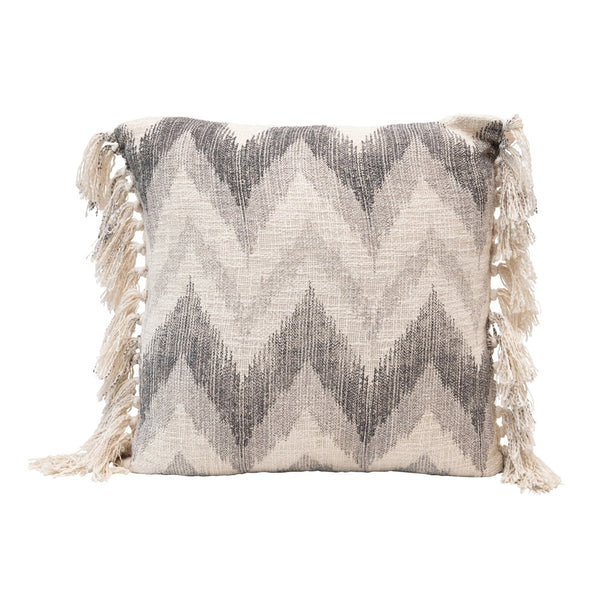 "20"" Square Stonewashed Cotton Slub Pillow w/ Chevron Print & Tassels, Multi Color"
