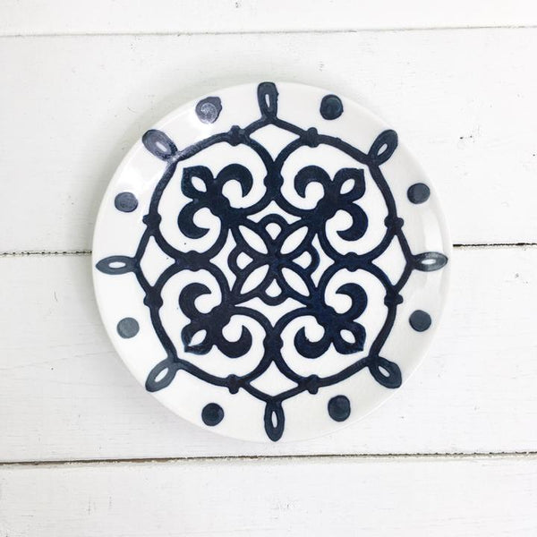 Hand Painted Blue Stoneware Plate