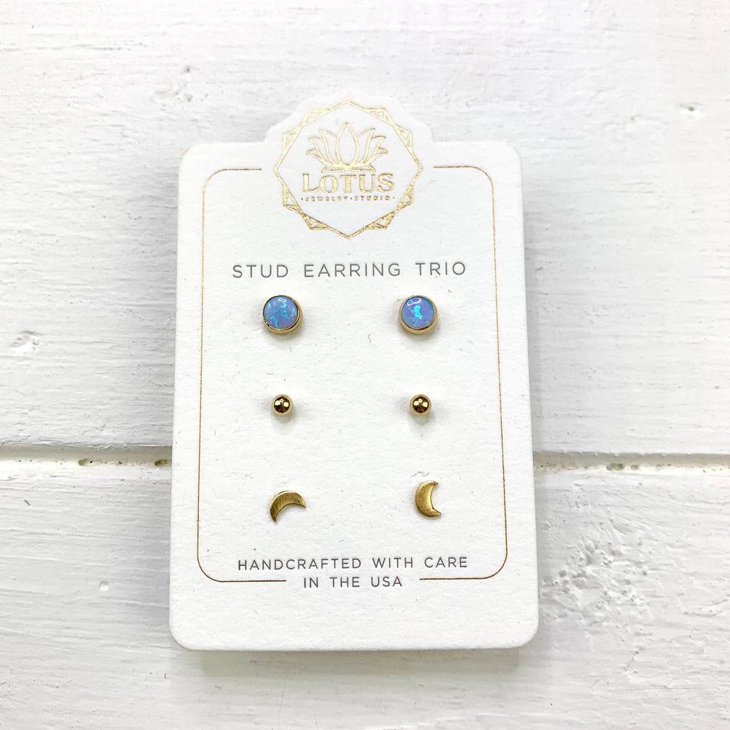 Gold Opal Stud Blue