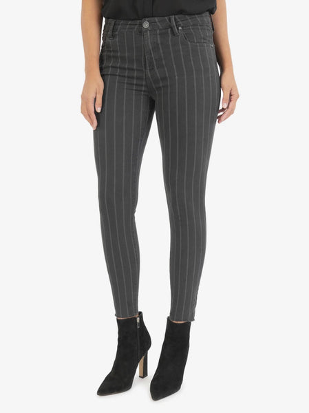 connie ankle skinny black/grey stripe