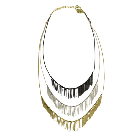 Delicate Fringed Metal Necklace