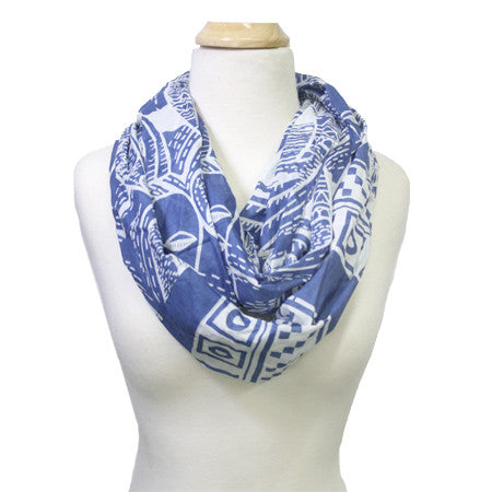 Infinity Bird Scarf - blue