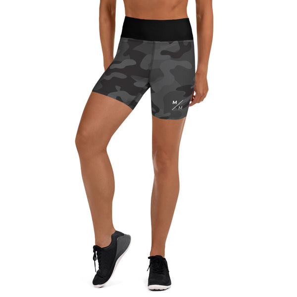"Black Camo M/M- 5"" Shorts/High Waist"