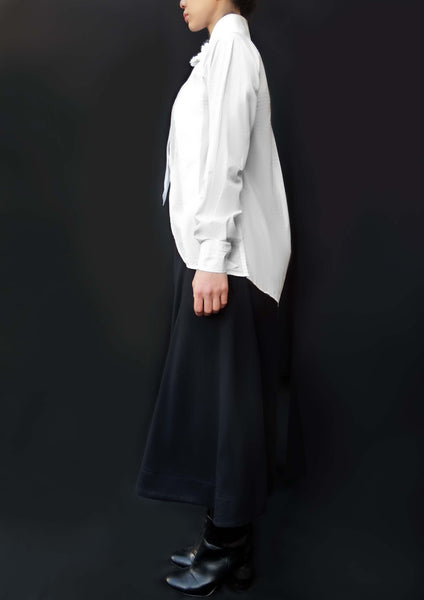 Origami Cotton Wide Collar Flower Shirt / White - YOJIRO KAKE OFFICIAL
