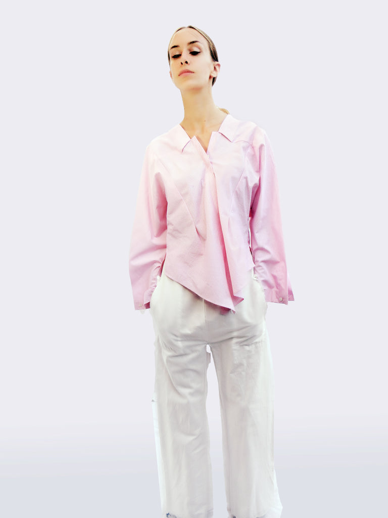 Long Sleeve Striped Shirt with Origami Classic Collar/ Light pink