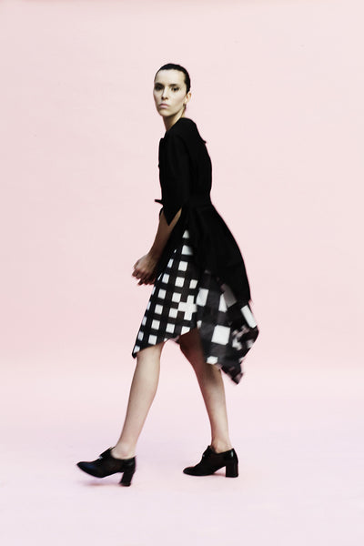 Origami Puffy Mesh Wide Skirt / Checks - YOJIRO KAKE OFFICIAL