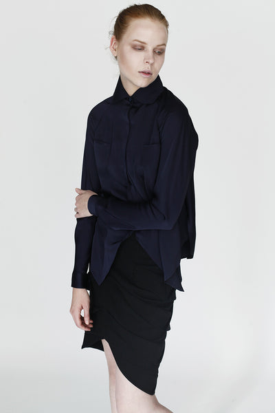 Origami Collar Shirt / Navy - YOJIRO KAKE OFFICIAL