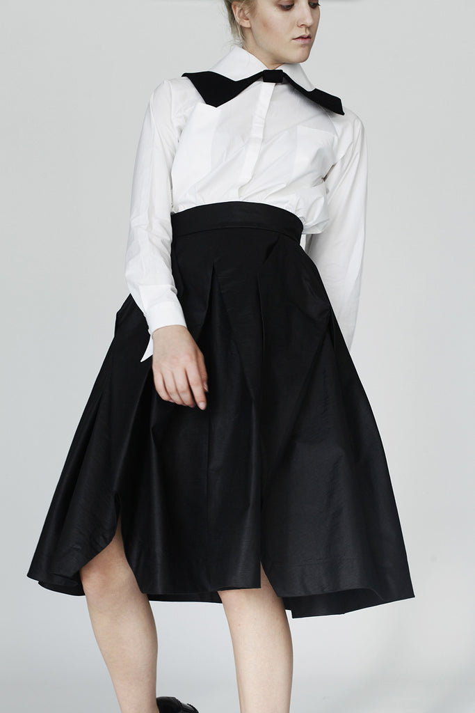 Origami Cotton Complex Pleats Skirt / Black - YOJIRO KAKE OFFICIAL