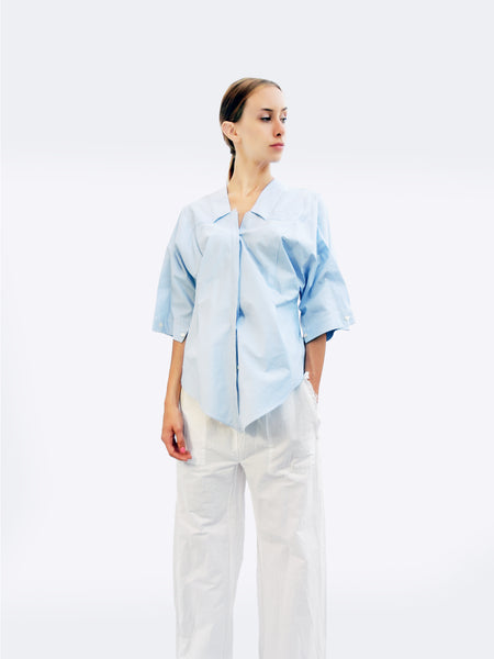 Six-quarter Sleeve Striped Shirt with Origami Classic Collar/ Light blue