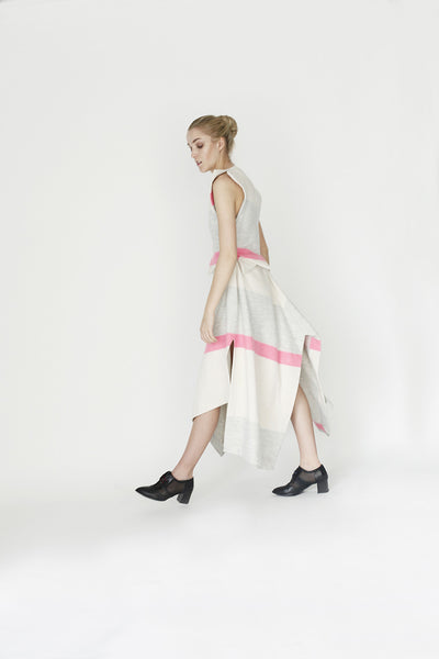 Origami Sleeveless Wool Midi Dress / Stripes - YOJIRO KAKE OFFICIAL