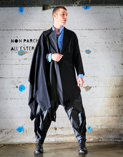 Origami Cool Wool Tailored Long Jacket For men/ Black