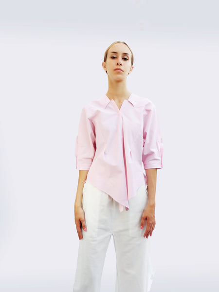 Six-quarter Sleeve Striped Shirt with Origami Classic Collar/Light pink