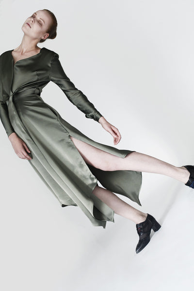 Origami Viscose Triangle Folds Midi Dress / Olive - YOJIRO KAKE OFFICIAL