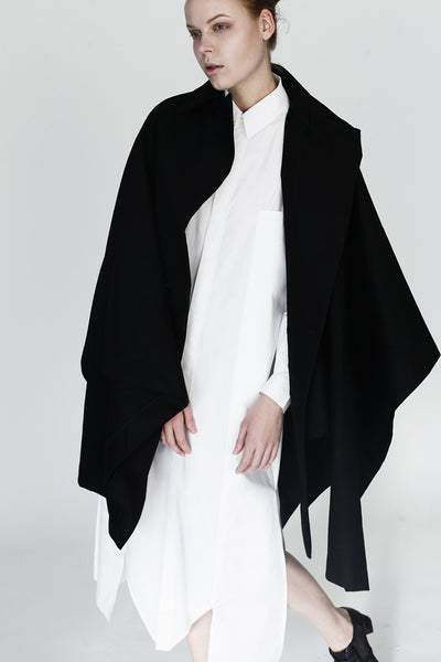 Origami Stain Collar Wool Cape / Black - YOJIRO KAKE OFFICIAL