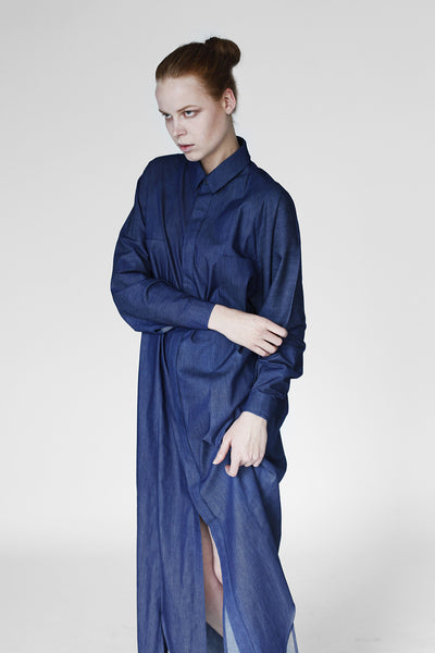 Origami Light Denim Maxi Shirt / Navy - YOJIRO KAKE OFFICIAL