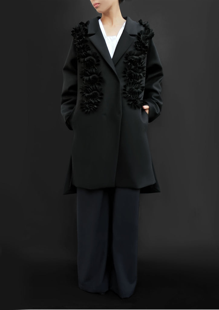 Wool Coat With Flower Petals / Black - YOJIRO KAKE OFFICIAL