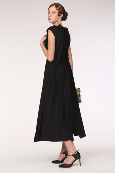 Back Neck Pleats Silk Dress / Black - YOJIRO KAKE OFFICIAL