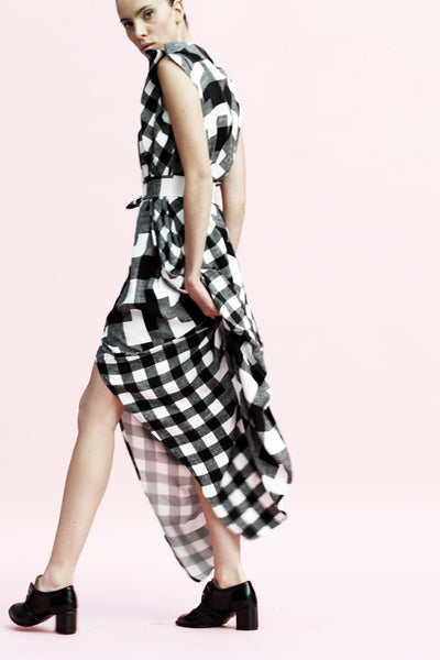 Origami Buri Viscose Shirt Dress / Checks - YOJIRO KAKE OFFICIAL