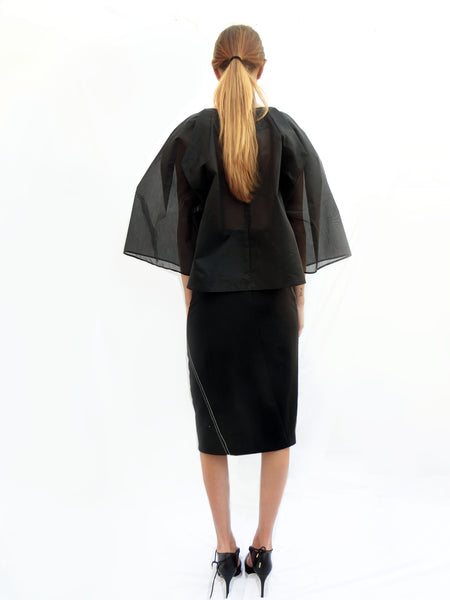 High waist tight skirt with diagonal stitches/ Black - YOJIRO KAKE OFFICIAL