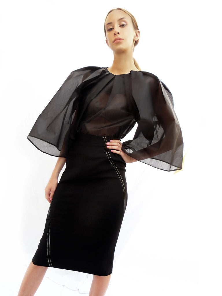 Angular Pleated Transparent Top/ Black/ 100% Silk - YOJIRO KAKE OFFICIAL