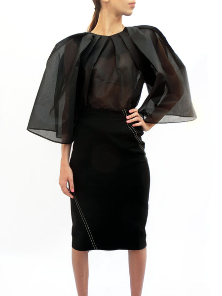 Spiral High Waist Skirt/ Black