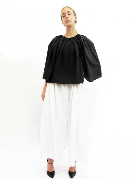 Squarish Pleats Top/ Navy / 100% Wool