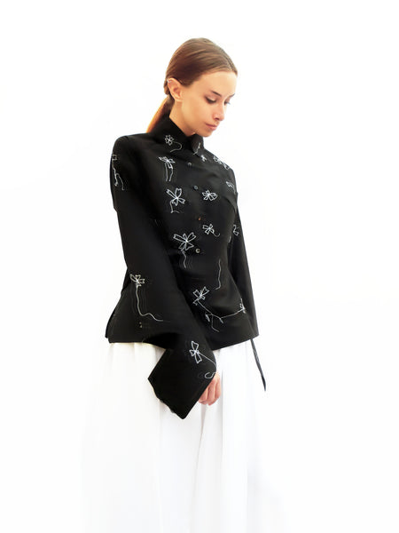 High Collar Blossoms Stitch Shirt/ Black