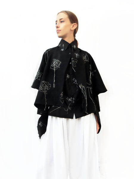 Wool Wide Jacket with Embroidered Stitching/ Black/ 100% Wool - YOJIRO KAKE OFFICIAL