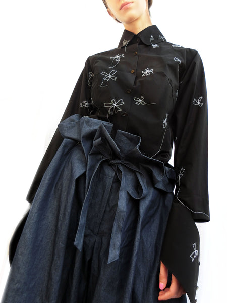 High Collar Flower Stitching Embroidered Shirt/ Black/ 100% Cotton - YOJIRO KAKE OFFICIAL